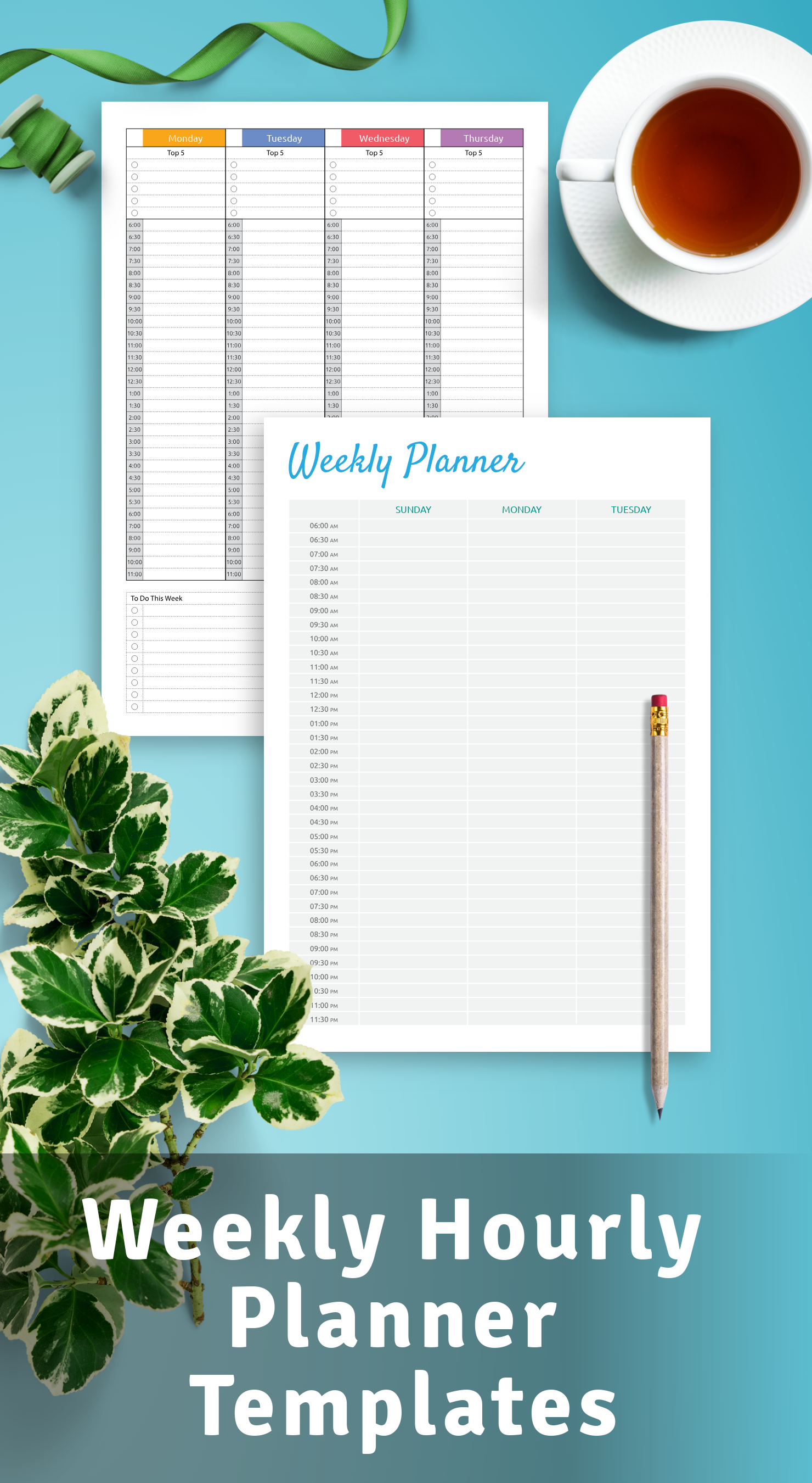 weekly hourly planner templates
