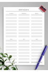 Download Birthday Calendar - Original Style - Printable PDF