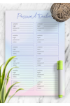 Download Password Tracker Template Blue and Pink - Printable PDF