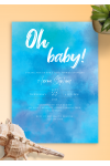 Printable Blue Sky Baby Shower Invitation PDF Download