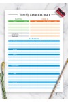 Printable Colored family budget template PDF Download