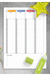 Printable Colored Weekly hourly planner dated PDF Download