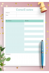 Download Cornell Notes Template Blue Background - Printable PDF