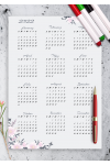 Download Dusty Blue Floral Yearly Calendar - Printable PDF