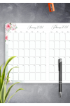 Printable Floral Two Months Calendar PDF Download
