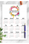 Printable Floral yearly calendar PDF Download