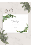 Printable Green Floral Wedding Thank You Card PDF Download