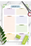 Printable Grocery List Template - Floral Style PDF Download