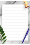 Printable Lined Paper Template - Wide Ruled 8.7mm PDF Download