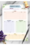 Printable Monthly Budget - Floral Style PDF Download