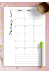 Printable Monthly calendar with notes PDF Download