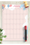 Download Pink Monthly Birthday Calendar - Printable PDF