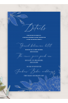 Printable Royal Blue and Silver Wedding Details Card PDF Download