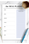 Printable Shopping template for meal planning PDF Download