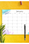 Download Simple Colored Monthly Calendar - Printable PDF