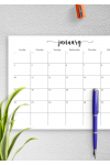 Printable Spacious Monthly Calendar Grid PDF Download