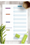 Download Undated Daily Planner Template - Casual Style - Printable PDF