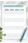 Printable Weekly Meal Plan - Casual Style PDF Download