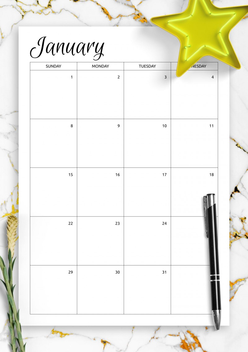 One Month Calendar Template from onplanners.com