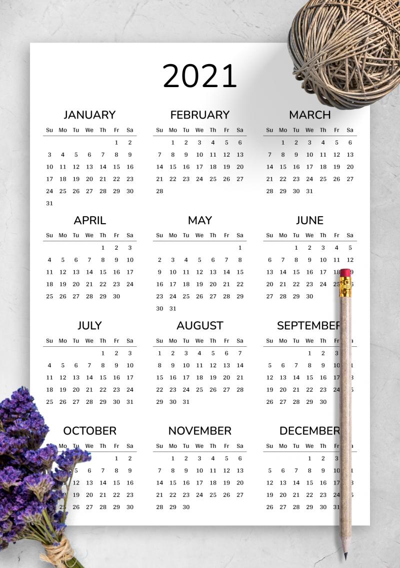 2022 Calendar At A Glance.2022 Printable Calendar
