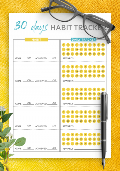 Download 30 Days Goal Habit Tracker Template - Printable PDF