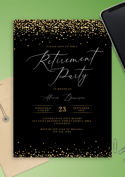 Printable Black and Gold Retirement Party Invitation PDF Download
