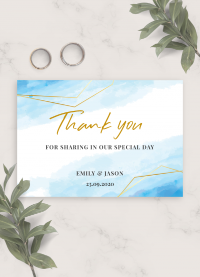 Printable Blue Sky Winter Wedding Thank you card PDF Download