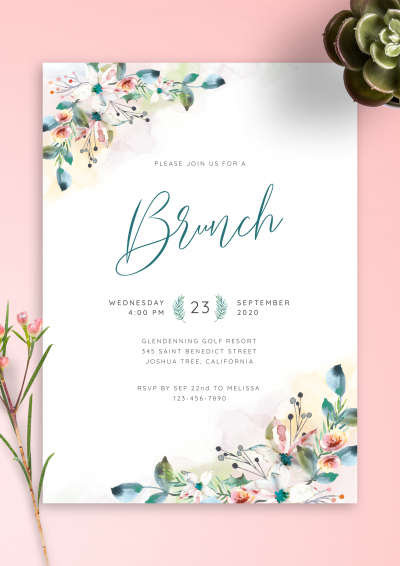 Printable Botanical Watercolor Brunch Invitation PDF Download