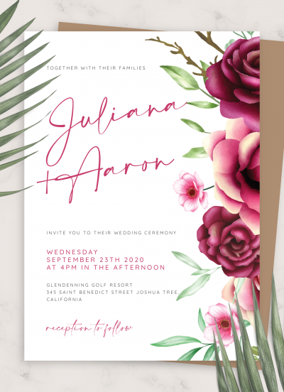 Download Burgundy Roses Wedding Invitation - Printable PDF