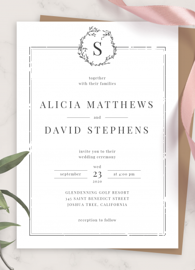 Printable Classic Formal Wedding Invitation PDF Download