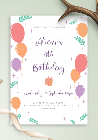 Printable Colored Balloons Birthday Invitation PDF Download