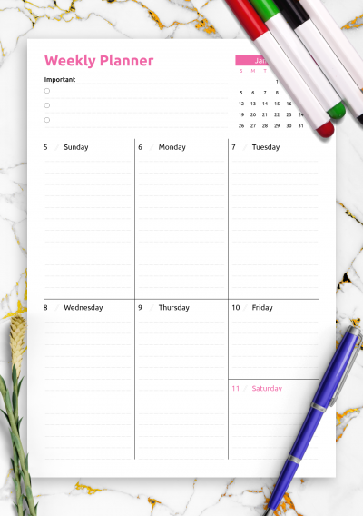 Printable Colored one-page weekly planner PDF Download