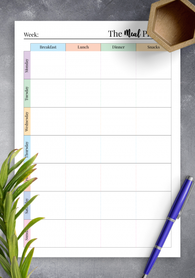 Printable Colorful weekly meal planner with grocery list PDF Download