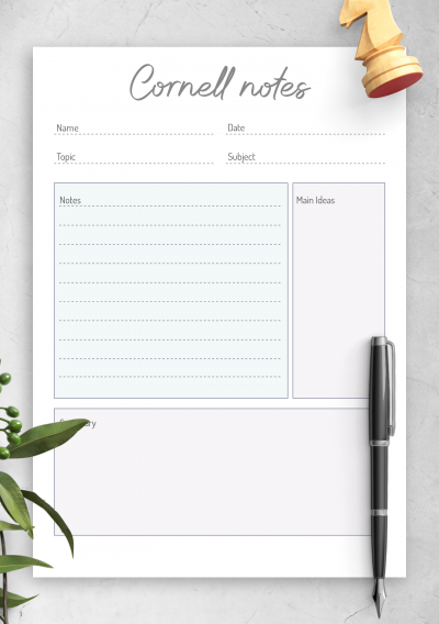 Printable Cornell Method Note-Taking Template PDF Download