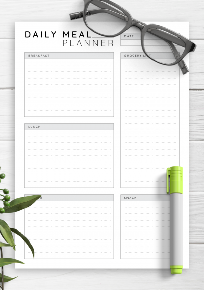 Download Daily Meal Planner - Printable PDF