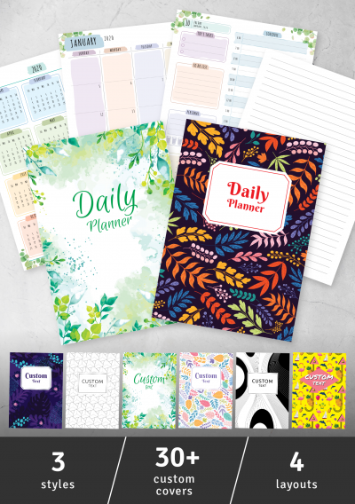 Printable Daily Planner - Floral Style PDF Download