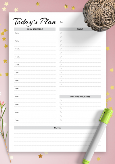 Download Daily planner with hourly schedule & to-do list - AM/PM time format - Printable PDF