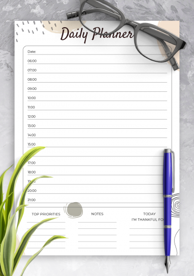Download Daily Planner with Time Slots Template - Printable PDF