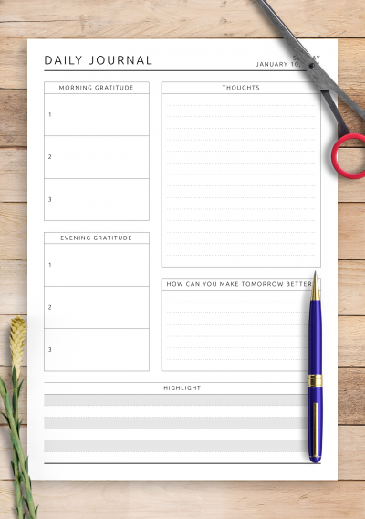 Download Daily Wellness Journal Template - Printable PDF