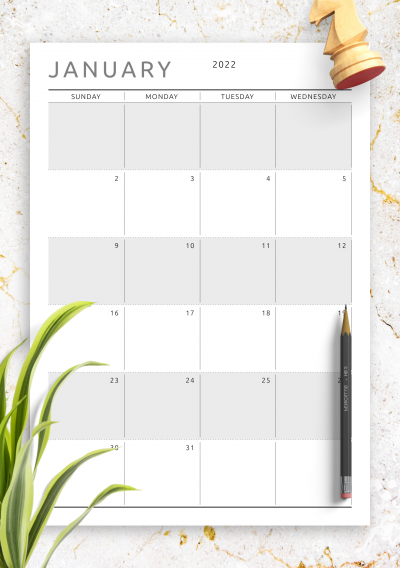 Printable Dated Monthly Calendar - Original Style PDF Download