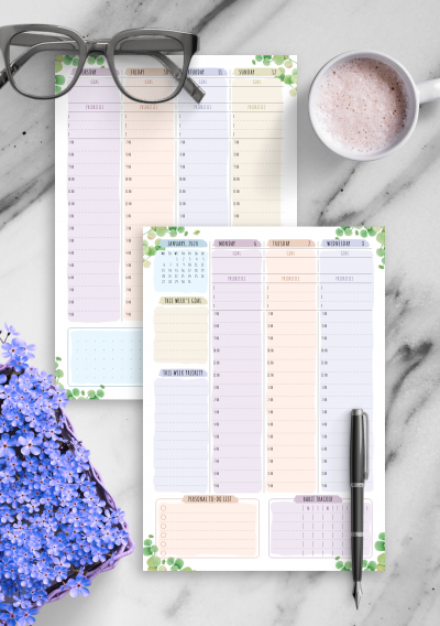 Download Printable Dated Weekly Planner - Floral Style PDF