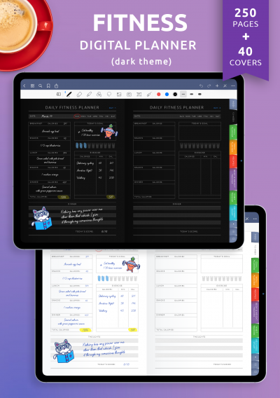 Download Digital Fitness Planner (Dark Theme) - Printable PDF