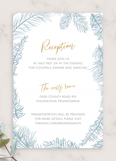 Download Fir Branch Winter Wedding Reception Card - Printable PDF