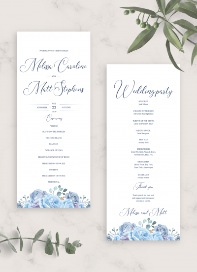 Printable Floral Blue Wedding Program Card PDF Download