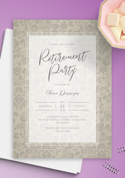 Download Floral Vintage Retirement Party Invitation - Printable PDF