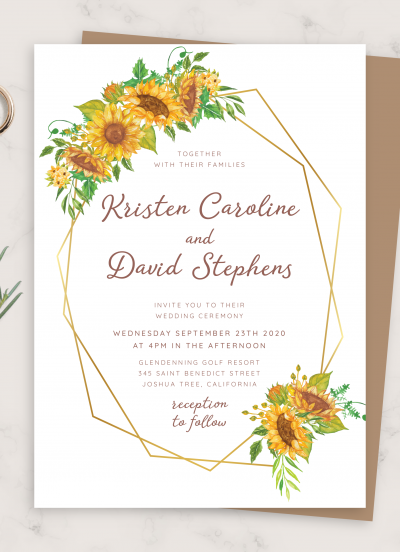 Printable Geometric Sunflower Wedding Invitation PDF Download