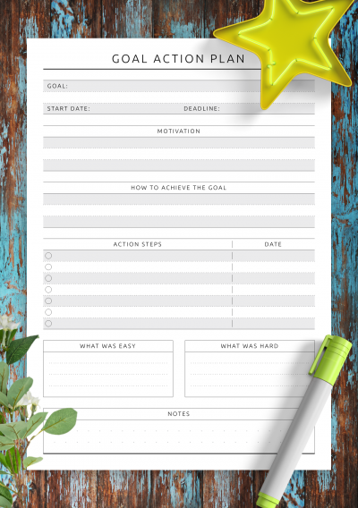 Download Printable Goal Action Plan - Original Style PDF