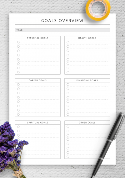 Printable Goals Overview - Original Style PDF Download