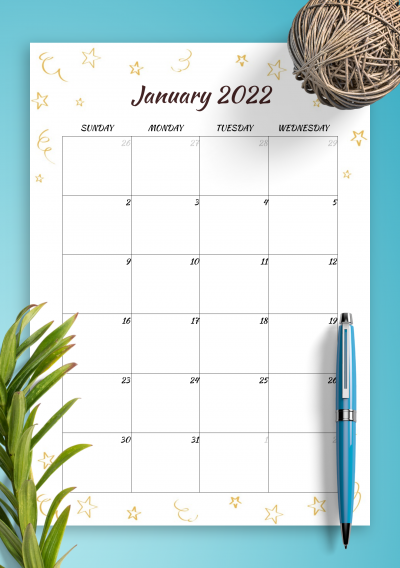 Printable Gold Stars Monthly Birthday Calendar PDF Download
