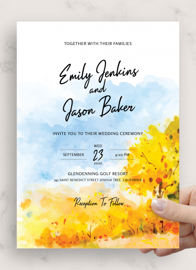 Download Golden Fall Wedding Invitation - Printable PDF